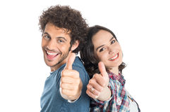 Young Couple Showing Thumb Up Stock Photography