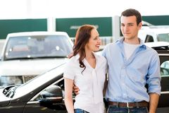 Young couple in the showroom Stock Photos