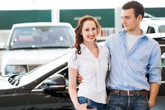 Young couple in the showroom Royalty Free Stock Image