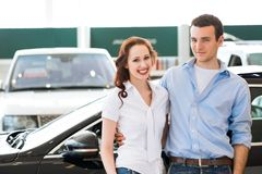 Young couple in the showroom Stock Photo