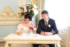 Young couple signing wedding contract Stock Images