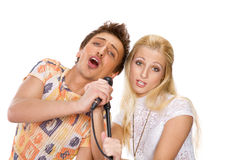 Young couple singing Royalty Free Stock Photography