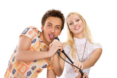 Young couple singing Royalty Free Stock Photos