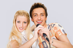 Young couple singing Stock Photography