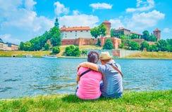 The couple in Krakow, Poland royalty free stock photos
