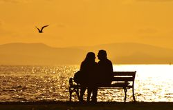 Young couple sitting on a bench under sunset. A bird flying over there Royalty Free Stock Photo