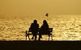 Young couple sitting on a bench under sunset Stock Photo