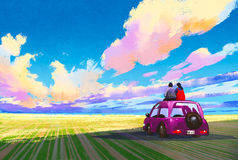 Young couple sitting on car in front of dramatic landscape stock illustration