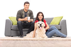 Young couple sitting with a dog on a modern sofa Royalty Free Stock Photography