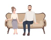 Young couple sitting on elegant sofa, holding hands and looking at each other. Man and woman in love on classical couch. Isolated on white background. Cute flat Royalty Free Stock Photos