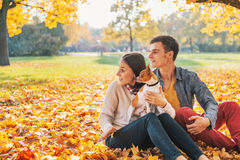 Young couple sitting outdoors in autumn park with dog Stock Photos