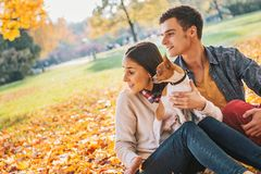 Young couple sitting outdoors in autumn park with dog Royalty Free Stock Photos