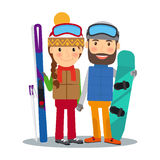 Young couple with ski and snowboard. Young happy couple with alpine ski and snowboard. Skiing and snowboarding people. Vector illustration Stock Photography