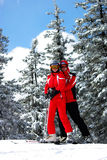 Young couple of skiers. Young couple funning in the ski resort Stock Images