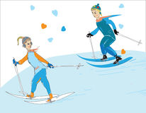 Young Couple Skiing Royalty Free Stock Image