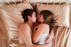 Young couple sleeping. In a bed Stock Photo