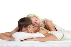 Young couple sleeping. In a bed Stock Images