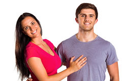 Young couple smiling at the camera Royalty Free Stock Images