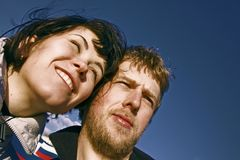 Young couple smiling faces Royalty Free Stock Image