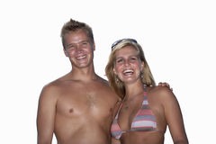 Young couple, smiling, front view, portrait, cut out Stock Image