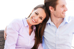 Young couple smiling. Portrait of young couple smiling Royalty Free Stock Image