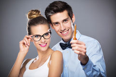 Young couple smiling Stock Images