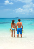 Young couple snorkeling together Royalty Free Stock Images