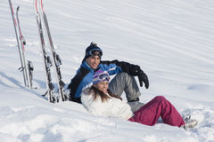 Young couple on the snow Royalty Free Stock Photo