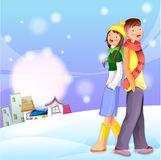 Young couple in snow graphic  Royalty Free Stock Photo
