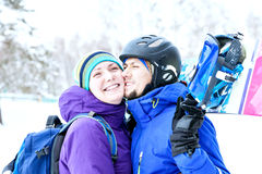 young couple snowboarders rejoice and be glad Royalty Free Stock Images