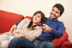 Young Couple on the Sofa Stock Photography