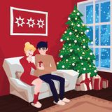 Young couple on sofa and cat in decorated guest room interior with a fireplace. Family celebration. Christmas tree. Gifts. Cozy home holiday. Vector Royalty Free Stock Photo