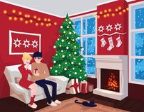 Young couple on sofa and cat in decorated guest room interior with a fireplace. Family celebration. Christmas tree. Gifts. Cozy home holiday. Vector Royalty Free Stock Photos