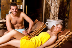 Young couple in a spa Stock Image