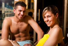 Young couple in a spa Stock Images