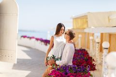 A young couple spend time together on vacation. Stock Photos