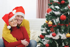Young couple spending Christmas time together Royalty Free Stock Images