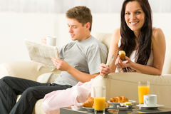 Young couple spending morning time together Royalty Free Stock Photo