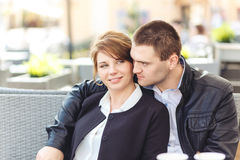 Young couple spends time in cafe Royalty Free Stock Images