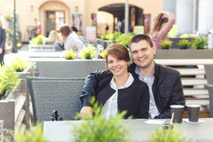 Young couple spends time in cafe Stock Photography