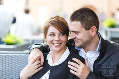 Young couple spends time in cafe Stock Photo