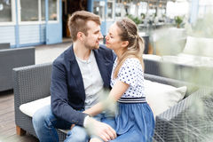 Young couple spends time on the couch Stock Photo
