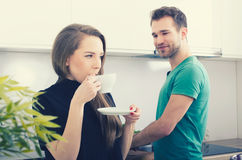 Young couple spends time together in the kitchen Stock Photography