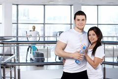 Young couple in sports club Stock Photography