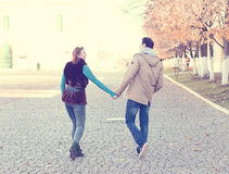 Young couple  spring city, relax have fun, love each other, happy family, idea  style concept relationships autumn Stock Photos