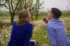 Young couple on spring field Royalty Free Stock Photo