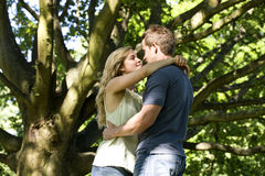 A young couple standing beneath a tree, embracing Stock Photos