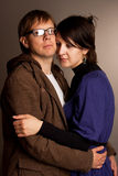 Young couple standing embrace Stock Image