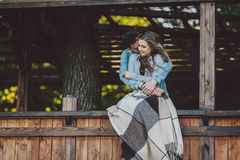Young couple standing and embrace Stock Image