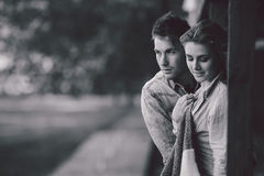 Young couple standing and embrace Stock Photography